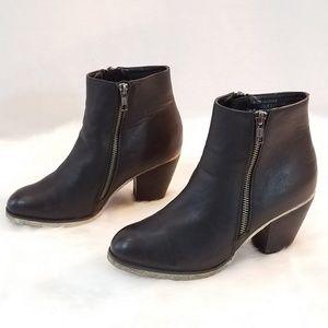 Ecco Vegan Leather Heeled Zip Booties
